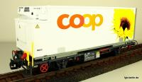 RhB coop® Containerwagen - Sonnenblume (Container car - Sunflower), Lb 7881