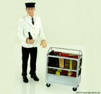 Bahnpersonal mit Servicewagen (Service person with Minibar)