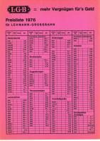 LGB Preisliste (Price list) 1976