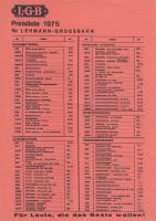 LGB Preisliste (Price list) 1975