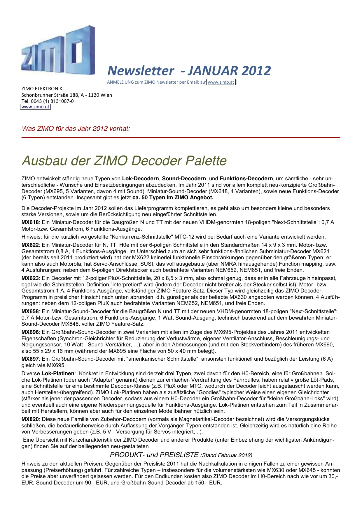 Zimo Newsletter - 2012-01 Januar (Deutsch)