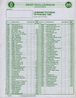 Lehmann Preisliste (Price list) 1998 (Toy Train))